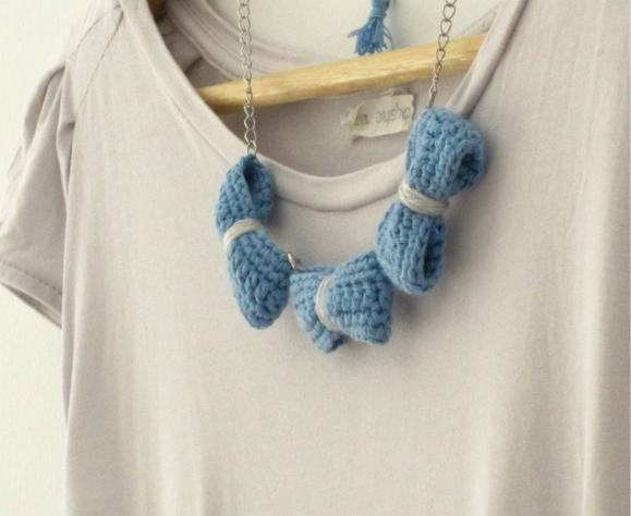Three crochet bows necklace. Pale blue and grey cotton yarn