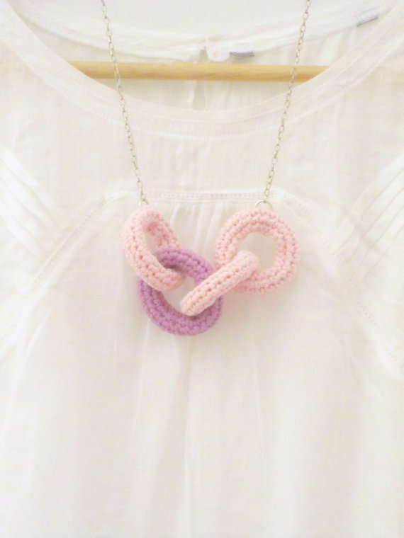 Chain reaction, crochet chain necklace. Pink and lilac cotton yarn