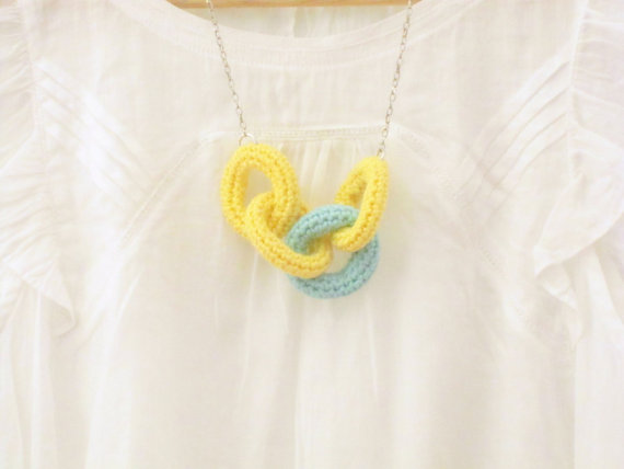 Chain reaction, crochet chain necklace. Yellow and mint green cotton yarn