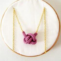 Bonds, crochet knot necklace. Nautical knot. Lavender cotton yarn