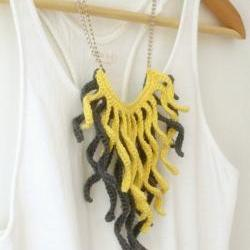 Crochet fringe necklace. Grey and pale yellow cotton tassel