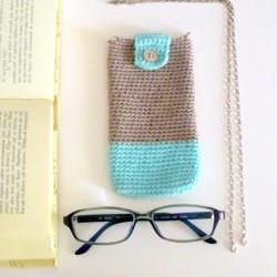 Crochet eyeglass case, phone case with detachable chain. Sand and mint cotton yarn.