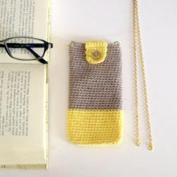 Crochet eyeglass case, phone case with detachable chain. Sand and yellow cotton yarn.