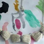 Three crochet bows necklace..